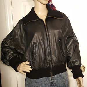 Theory Black Leather Bomber Jacket- Made in Italy